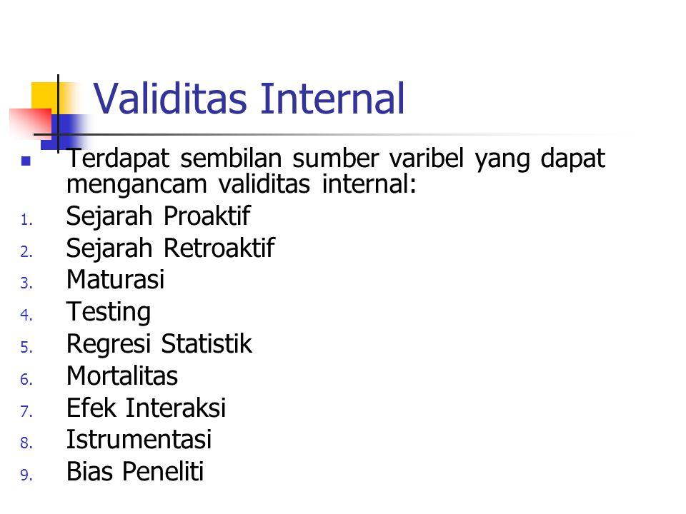Validitas Internal Terdapat sembilan sumber varibel yang dapat mengancam validitas internal: 1. Sejarah Proaktif 2. Sejarah Retroaktif 3. Maturasi 4.