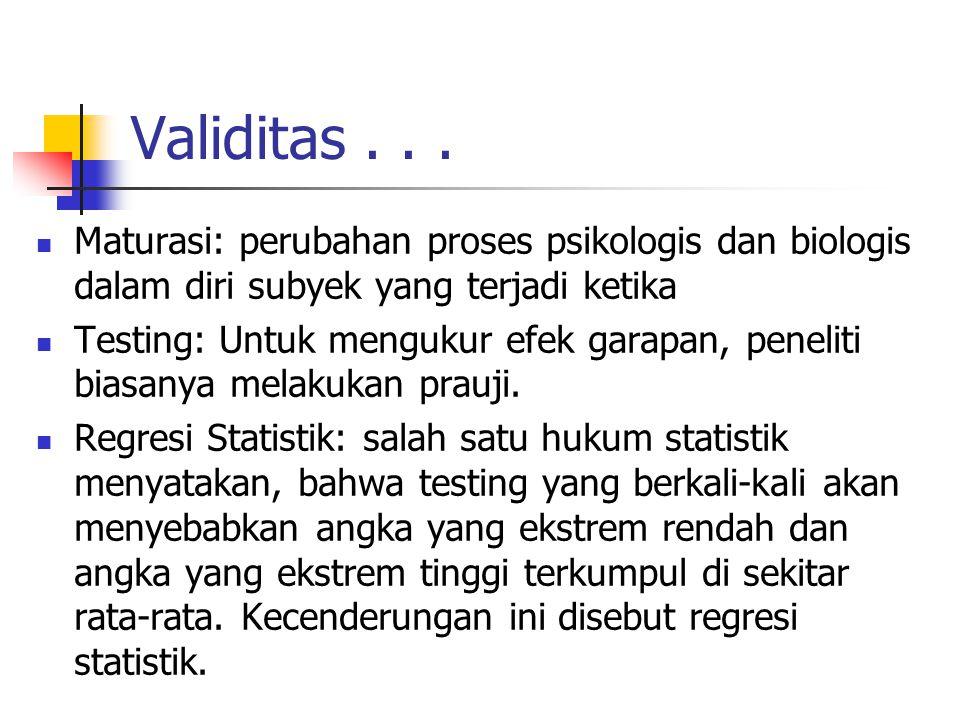 Validitas... Maturasi: perubahan proses psikologis dan biologis dalam diri subyek yang terjadi ketika Testing: Untuk mengukur efek garapan, peneliti b