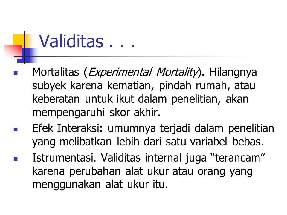 Validitas... Mortalitas (Experimental Mortality). Hilangnya subyek karena kematian, pindah rumah, atau keberatan untuk ikut dalam penelitian, akan mem