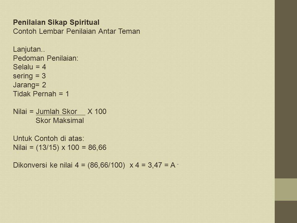Penilaian Sikap Spiritual Contoh Lembar Penilaian Antar Teman Lanjutan.. Pedoman Penilaian: Selalu = 4 sering = 3 Jarang= 2 Tidak Pernah = 1 Nilai = J
