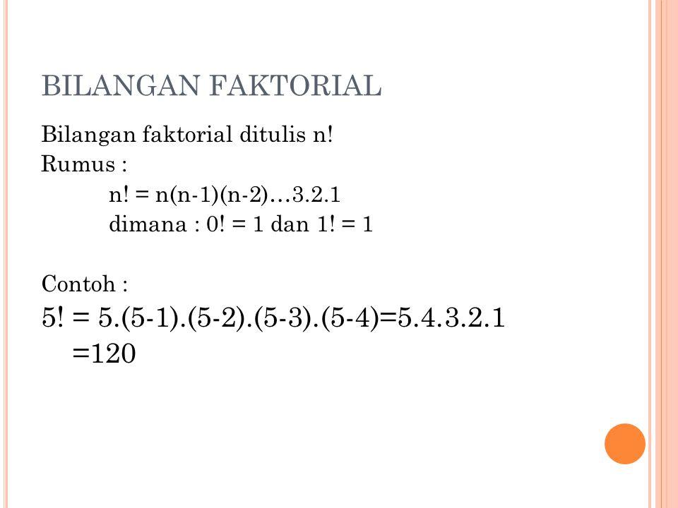 BILANGAN FAKTORIAL Bilangan faktorial ditulis n! Rumus : n! = n(n-1)(n-2)…3.2.1 dimana : 0! = 1 dan 1! = 1 Contoh : 5! = 5.(5-1).(5-2).(5-3).(5-4)=5.4