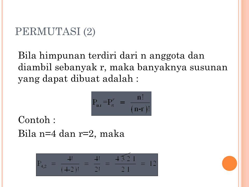 PERMUTASI (2) Bila himpunan terdiri dari n anggota dan diambil sebanyak r, maka banyaknya susunan yang dapat dibuat adalah : Contoh : Bila n=4 dan r=2