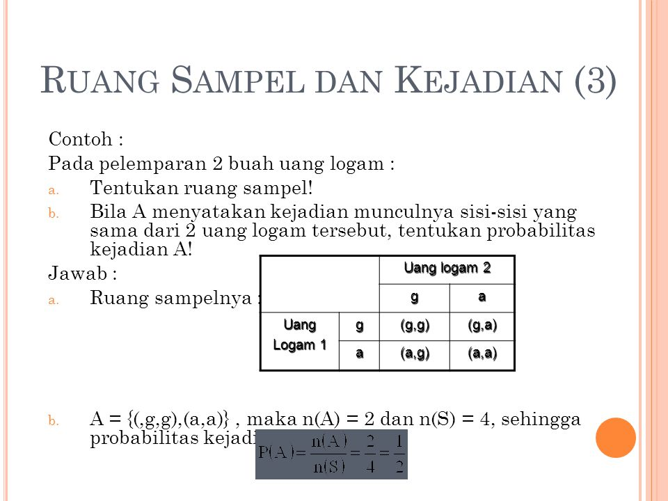 R UANG S AMPEL DAN K EJADIAN (3) Contoh : Pada pelemparan 2 buah uang logam : a. Tentukan ruang sampel! b. Bila A menyatakan kejadian munculnya sisi-s