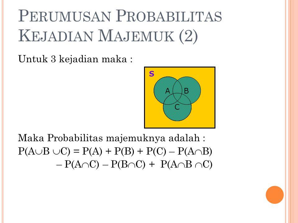P ERUMUSAN P ROBABILITAS K EJADIAN M AJEMUK (2) Untuk 3 kejadian maka : Maka Probabilitas majemuknya adalah : P(A  B  C) = P(A) + P(B) + P(C) – P(A