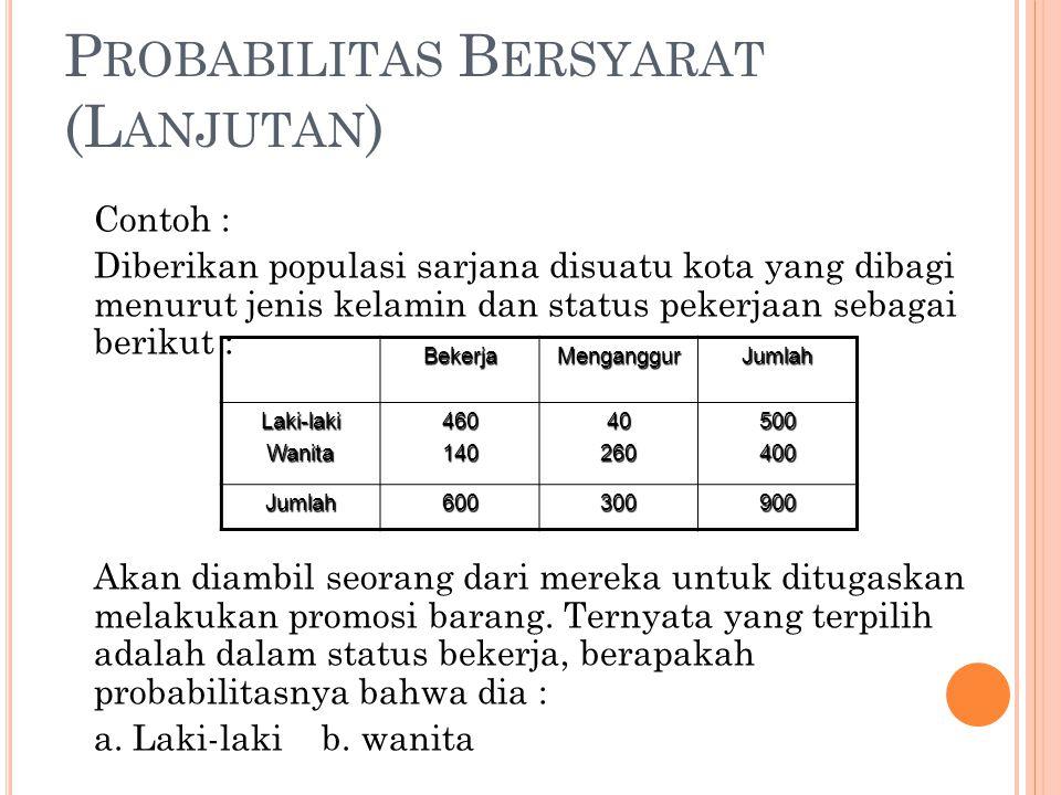 P ROBABILITAS B ERSYARAT (L ANJUTAN ) Contoh : Diberikan populasi sarjana disuatu kota yang dibagi menurut jenis kelamin dan status pekerjaan sebagai