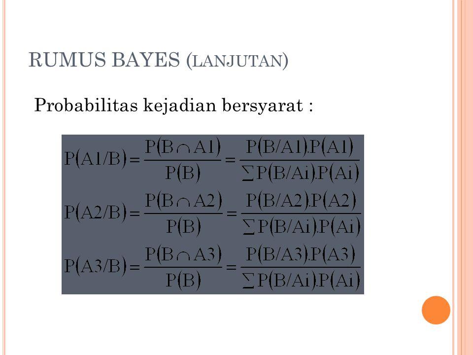 RUMUS BAYES ( LANJUTAN ) Probabilitas kejadian bersyarat :