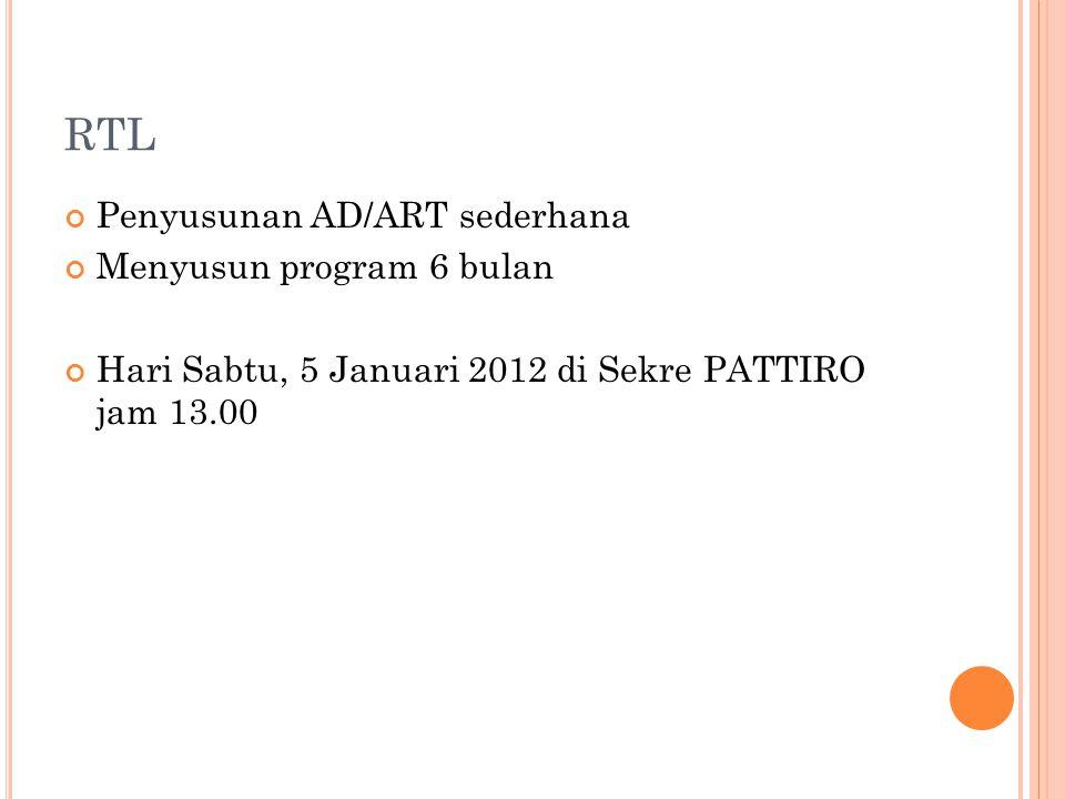 RTL Penyusunan AD/ART sederhana Menyusun program 6 bulan Hari Sabtu, 5 Januari 2012 di Sekre PATTIRO jam 13.00