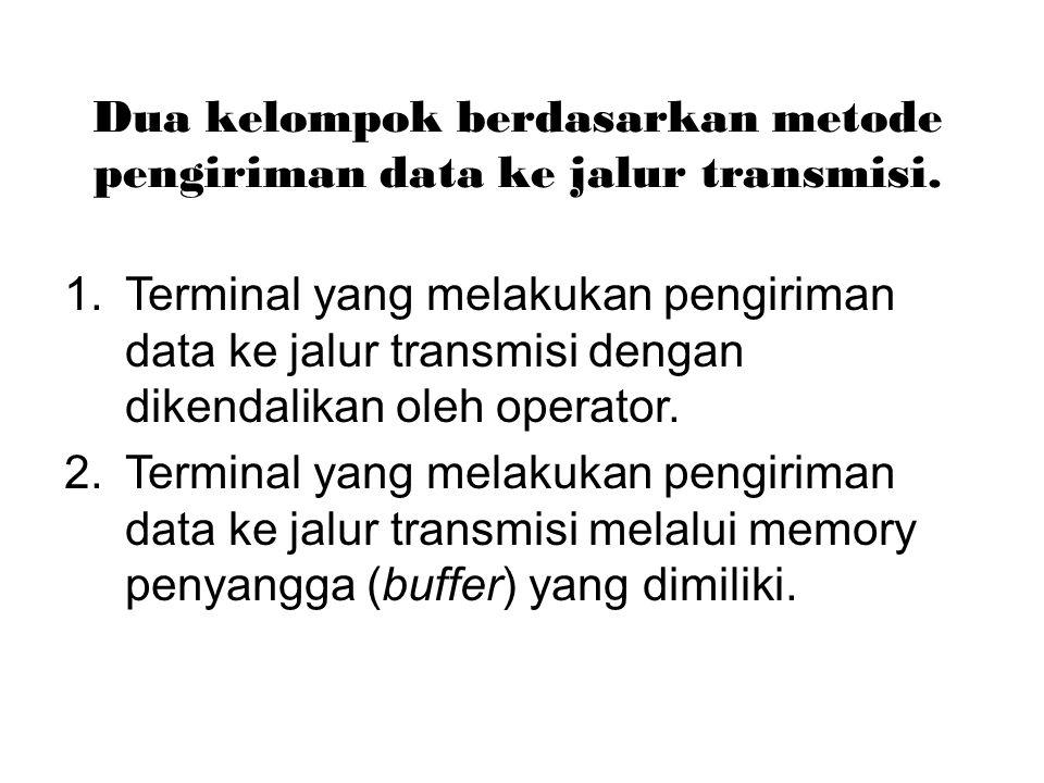 Dua kelompok berdasarkan metode pengiriman data ke jalur transmisi. 1.Terminal yang melakukan pengiriman data ke jalur transmisi dengan dikendalikan o