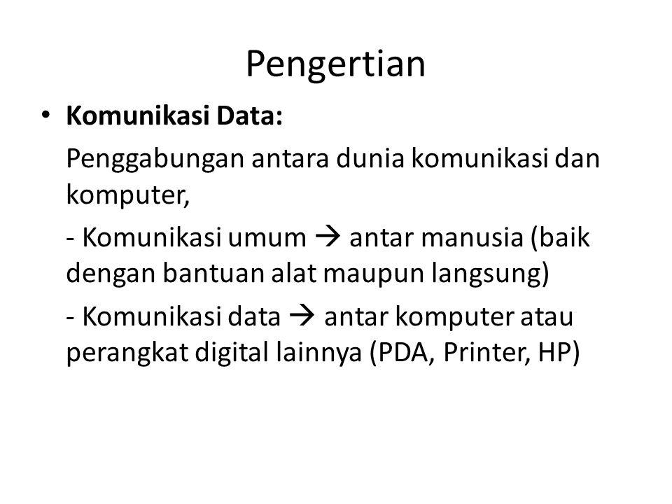 Pengertian Komunikasi Data: Penggabungan antara dunia komunikasi dan komputer, - Komunikasi umum  antar manusia (baik dengan bantuan alat maupun lang