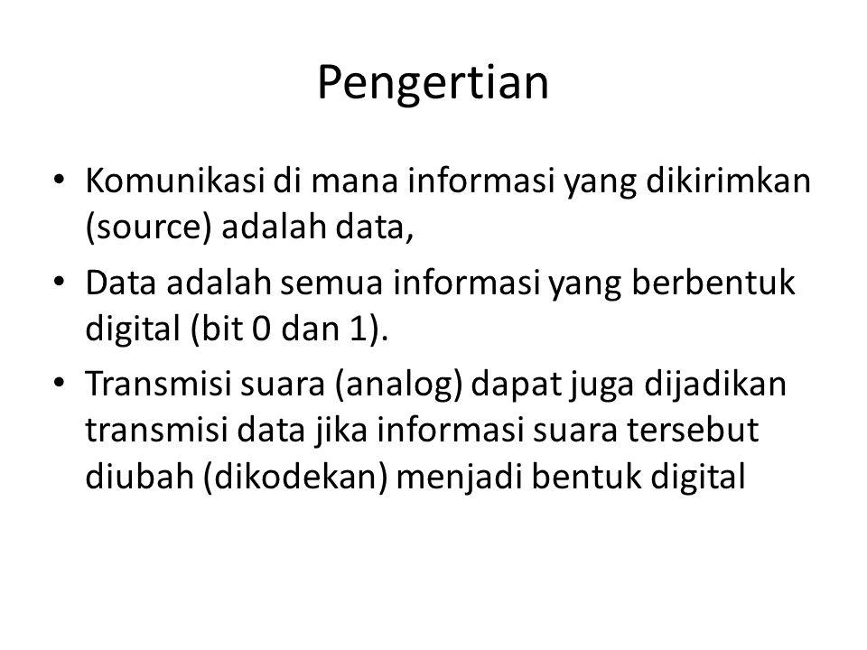 Pengertian Komunikasi di mana informasi yang dikirimkan (source) adalah data, Data adalah semua informasi yang berbentuk digital (bit 0 dan 1). Transm