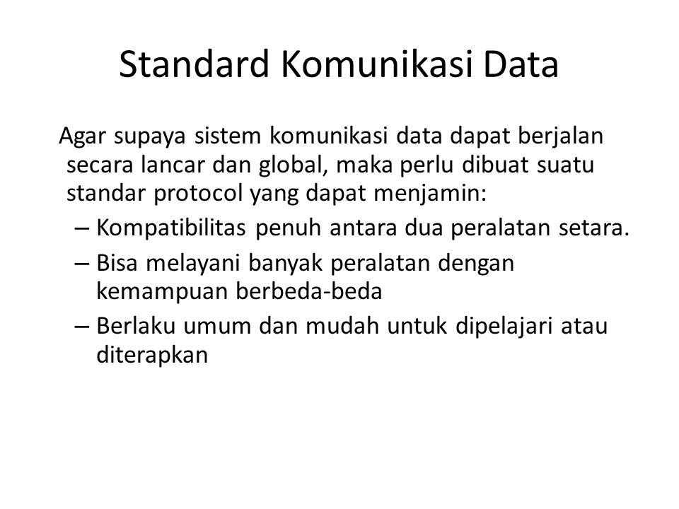 Standard Komunikasi Data Agar supaya sistem komunikasi data dapat berjalan secara lancar dan global, maka perlu dibuat suatu standar protocol yang dap