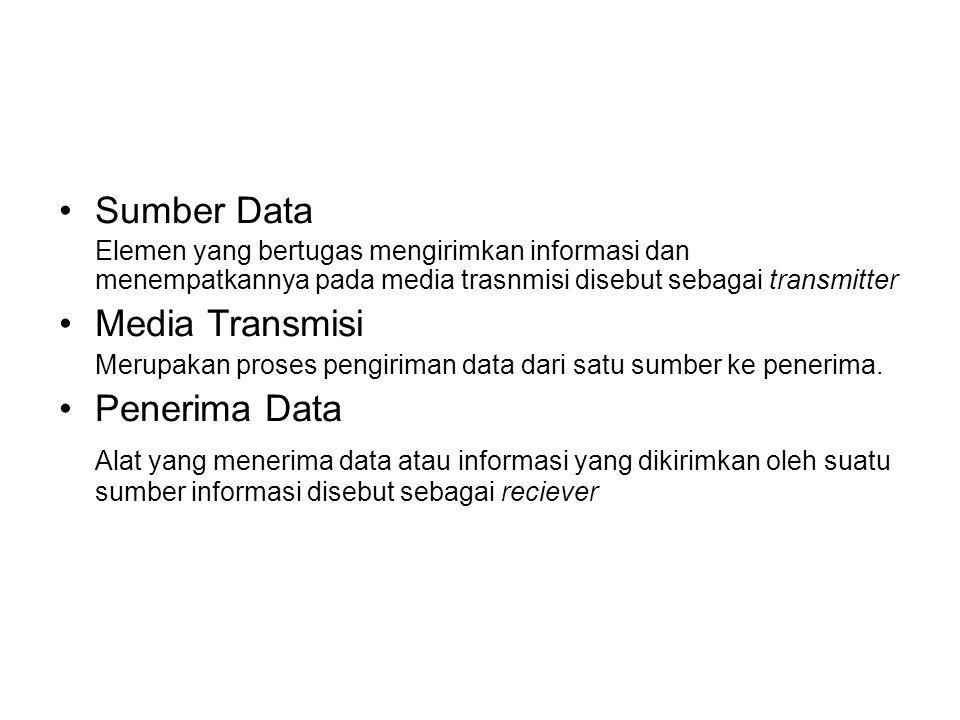 Sumber Data Elemen yang bertugas mengirimkan informasi dan menempatkannya pada media trasnmisi disebut sebagai transmitter Media Transmisi Merupakan p