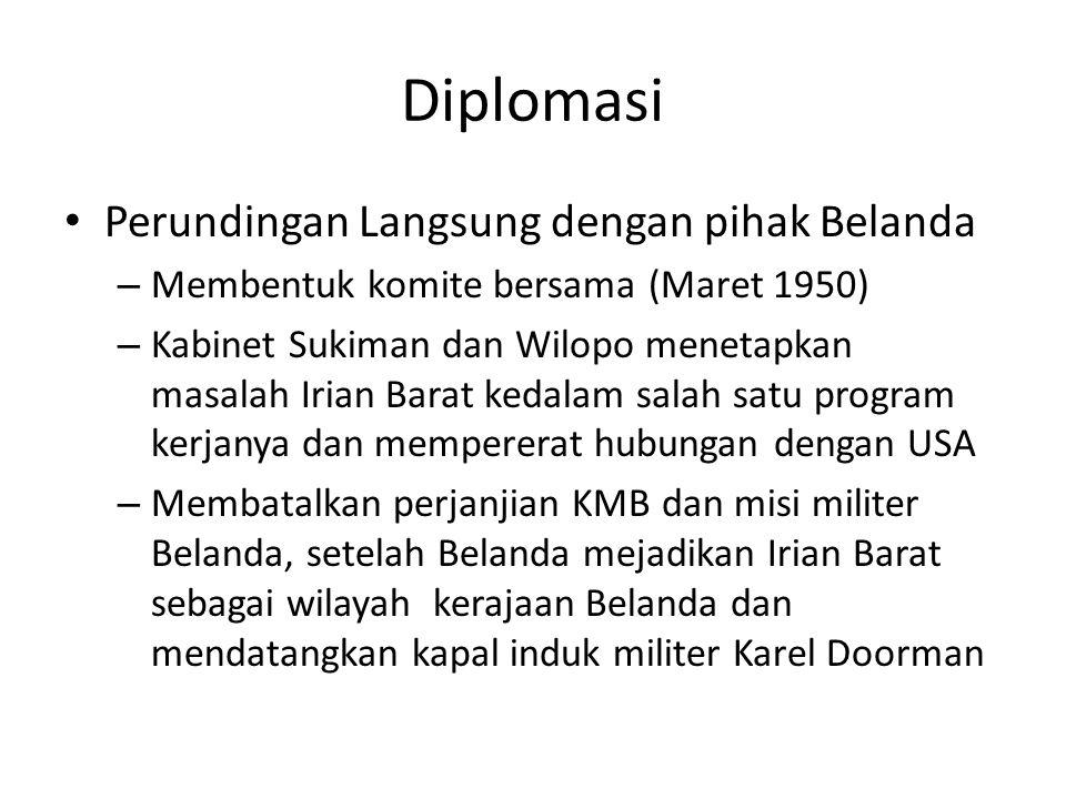 Diplomasi Perundingan Langsung dengan pihak Belanda – Membentuk komite bersama (Maret 1950) – Kabinet Sukiman dan Wilopo menetapkan masalah Irian Bara