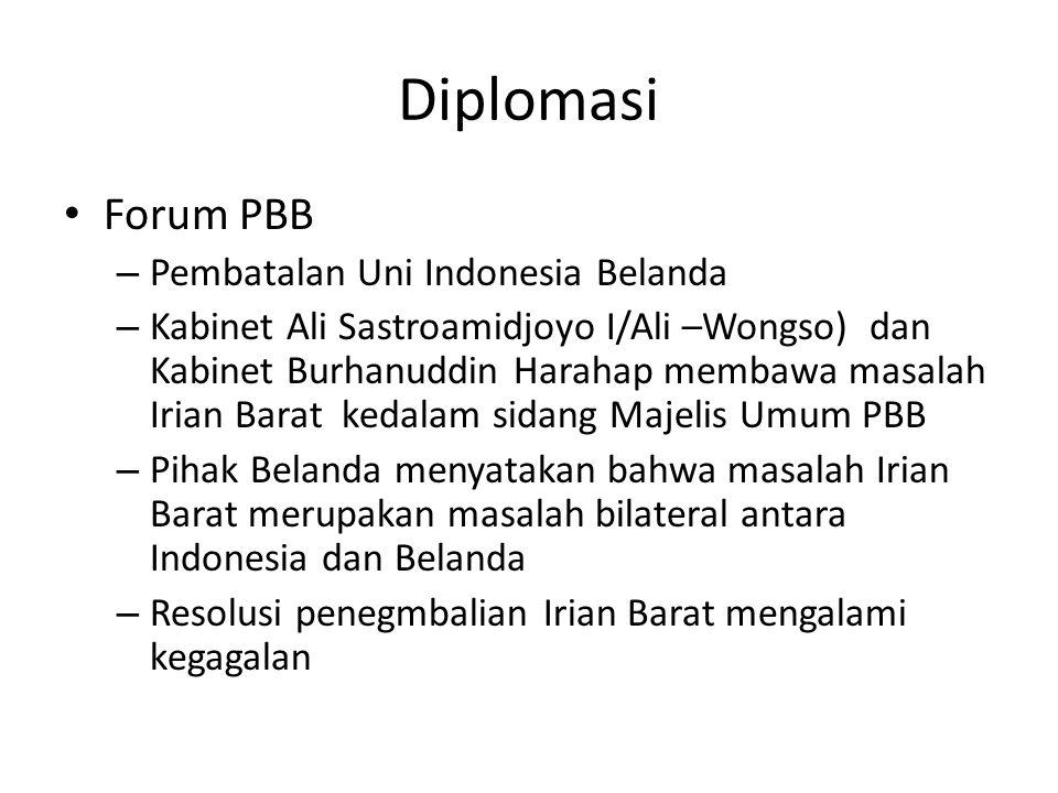 Diplomasi Forum PBB – Pembatalan Uni Indonesia Belanda – Kabinet Ali Sastroamidjoyo I/Ali –Wongso) dan Kabinet Burhanuddin Harahap membawa masalah Iri