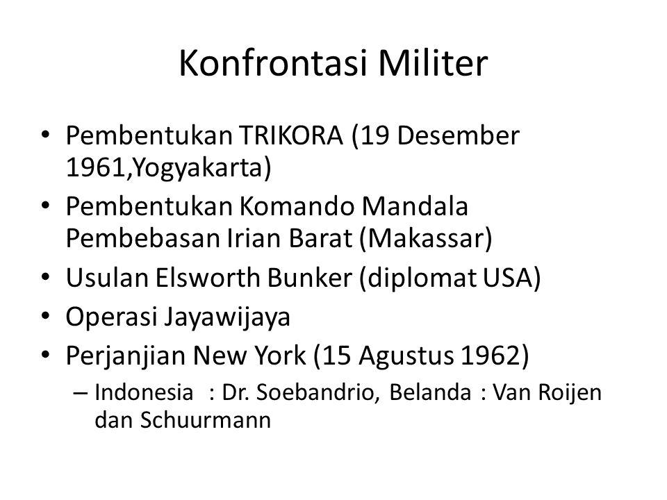 Konfrontasi Militer Pembentukan TRIKORA (19 Desember 1961,Yogyakarta) Pembentukan Komando Mandala Pembebasan Irian Barat (Makassar) Usulan Elsworth Bu