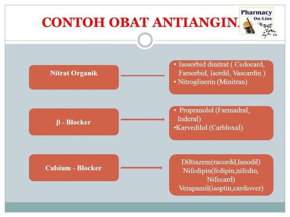 CONTOH OBAT ANTIANGINA Nitrat Organik  - Blocker Calsium - Blocker Isosorbid dinitrat ( Cedocard, Farsorbid, Isordil, Vascardin ) Nitrogliserin (Mini