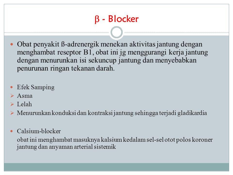  - Blocker Obat penyakit ß-adrenergik menekan aktivitas jantung dengan menghambat reseptor B1, obat ini jg menggurangi kerja jantung dengan menurunka