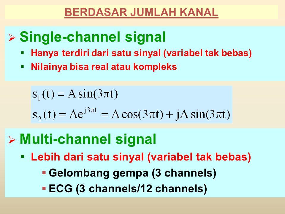 BERDASAR JUMLAH KANAL  Single-channel signal  Hanya terdiri dari satu sinyal (variabel tak bebas)  Nilainya bisa real atau kompleks  Multi-channel signal  Lebih dari satu sinyal (variabel tak bebas)  Gelombang gempa (3 channels)  ECG (3 channels/12 channels)