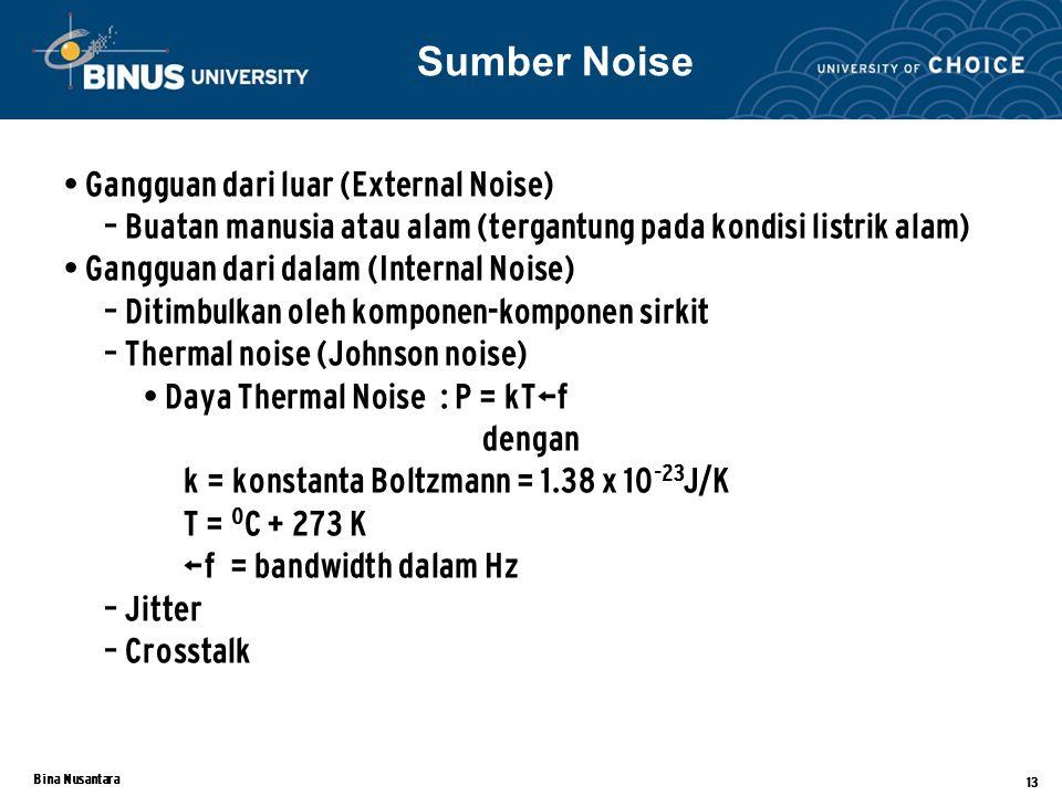Bina Nusantara 13 Gangguan dari luar (External Noise) – Buatan manusia atau alam (tergantung pada kondisi listrik alam) Gangguan dari dalam (Internal Noise) – Ditimbulkan oleh komponen-komponen sirkit – Thermal noise (Johnson noise) Daya Thermal Noise : P = kTΔf dengan k = konstanta Boltzmann = 1.38 x 10 -23 J/K T = 0 C + 273 K Δf = bandwidth dalam Hz – Jitter – Crosstalk Sumber Noise