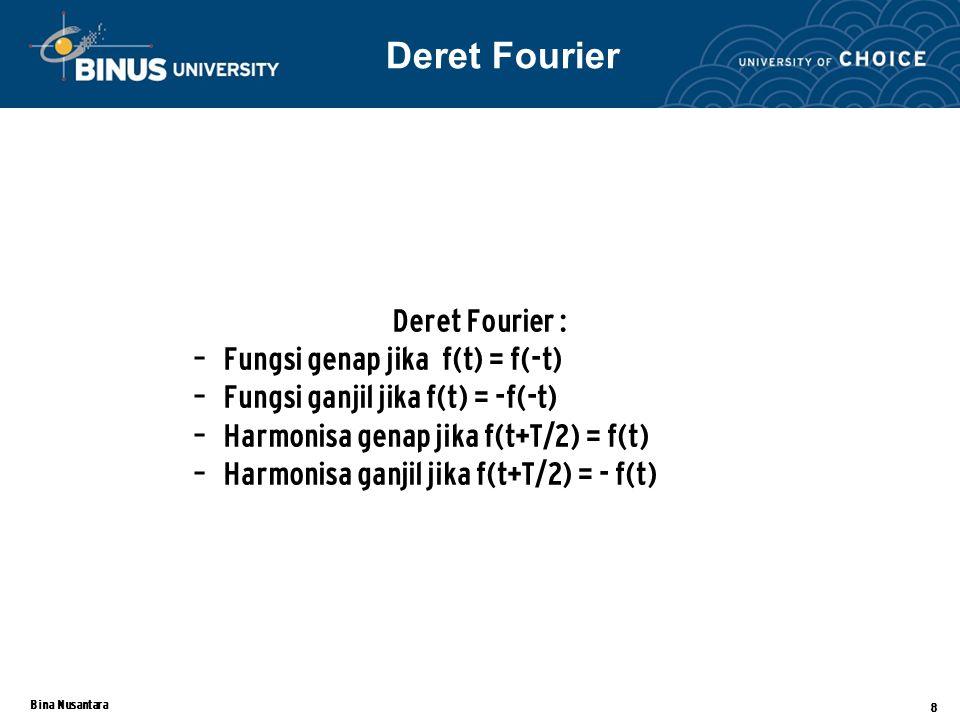 Bina Nusantara 8 Deret Fourier : – Fungsi genap jika f(t) = f(-t) – Fungsi ganjil jika f(t) = -f(-t) – Harmonisa genap jika f(t+T/2) = f(t) – Harmonisa ganjil jika f(t+T/2) = - f(t) Deret Fourier