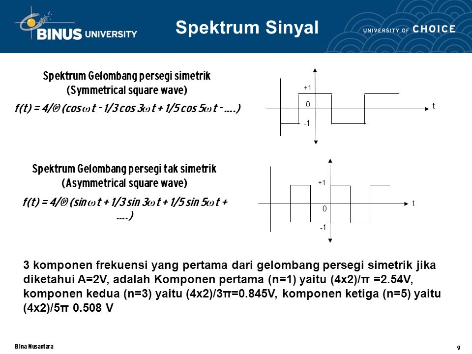 Bina Nusantara 9 Spektrum Gelombang persegi simetrik (Symmetrical square wave) f(t) = 4/π (cos ω t - 1/3 cos 3 ω t + 1/5 cos 5 ω t - ….) t +1 0 +1 0 t Spektrum Sinyal Spektrum Gelombang persegi tak simetrik (Asymmetrical square wave) f(t) = 4/π (sin ω t + 1/3 sin 3 ω t + 1/5 sin 5 ω t + ….) 3 komponen frekuensi yang pertama dari gelombang persegi simetrik jika diketahui A=2V, adalah Komponen pertama (n=1) yaitu (4x2)/π =2.54V, komponen kedua (n=3) yaitu (4x2)/3π=0.845V, komponen ketiga (n=5) yaitu (4x2)/5π 0.508 V