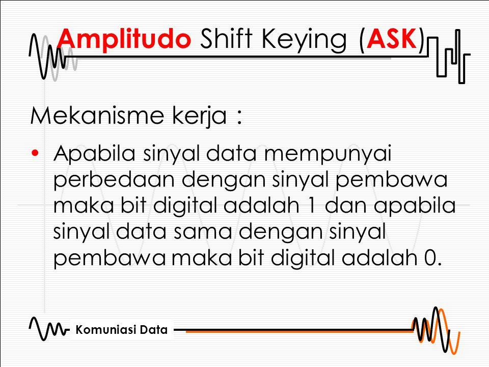 Komuniasi Data Amplitudo Shift Keying ( ASK ) Mekanisme kerja : Apabila sinyal data mempunyai perbedaan dengan sinyal pembawa maka bit digital adalah