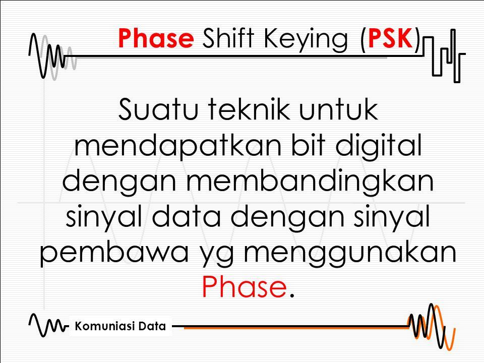 Komuniasi Data Phase Shift Keying ( PSK ) Suatu teknik untuk mendapatkan bit digital dengan membandingkan sinyal data dengan sinyal pembawa yg menggun