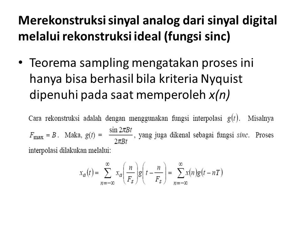 Merekonstruksi sinyal analog dari sinyal digital melalui rekonstruksi ideal (fungsi sinc) Teorema sampling mengatakan proses ini hanya bisa berhasil b