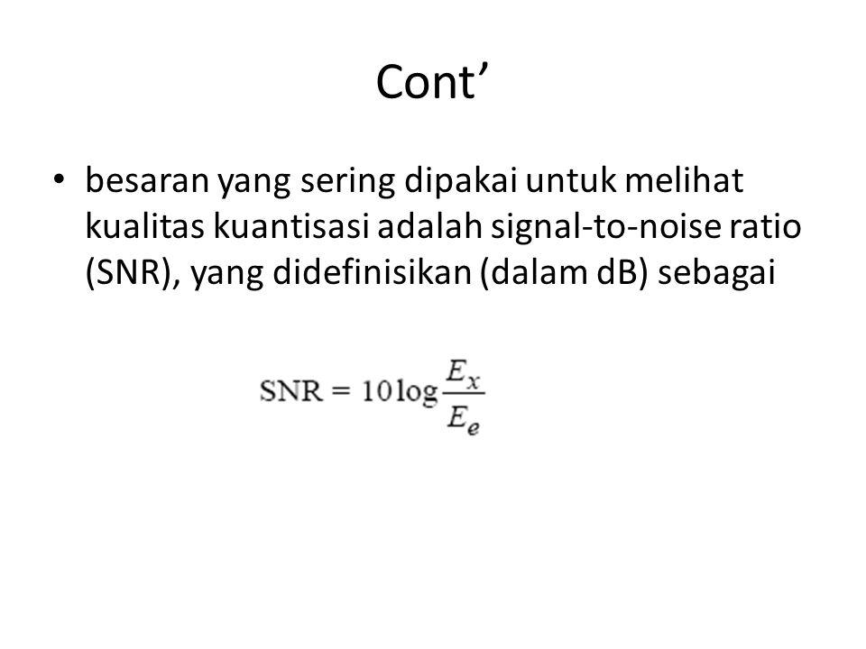 Cont' besaran yang sering dipakai untuk melihat kualitas kuantisasi adalah signal-to-noise ratio (SNR), yang didefinisikan (dalam dB) sebagai