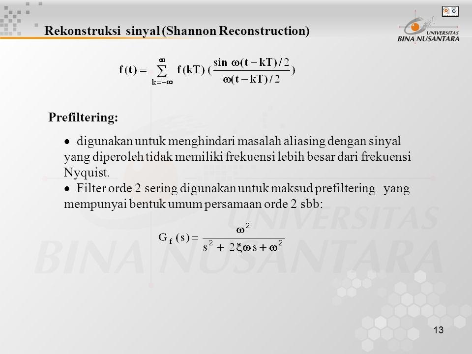 13 Rekonstruksi sinyal (Shannon Reconstruction) Prefiltering:  digunakan untuk menghindari masalah aliasing dengan sinyal yang diperoleh tidak memili