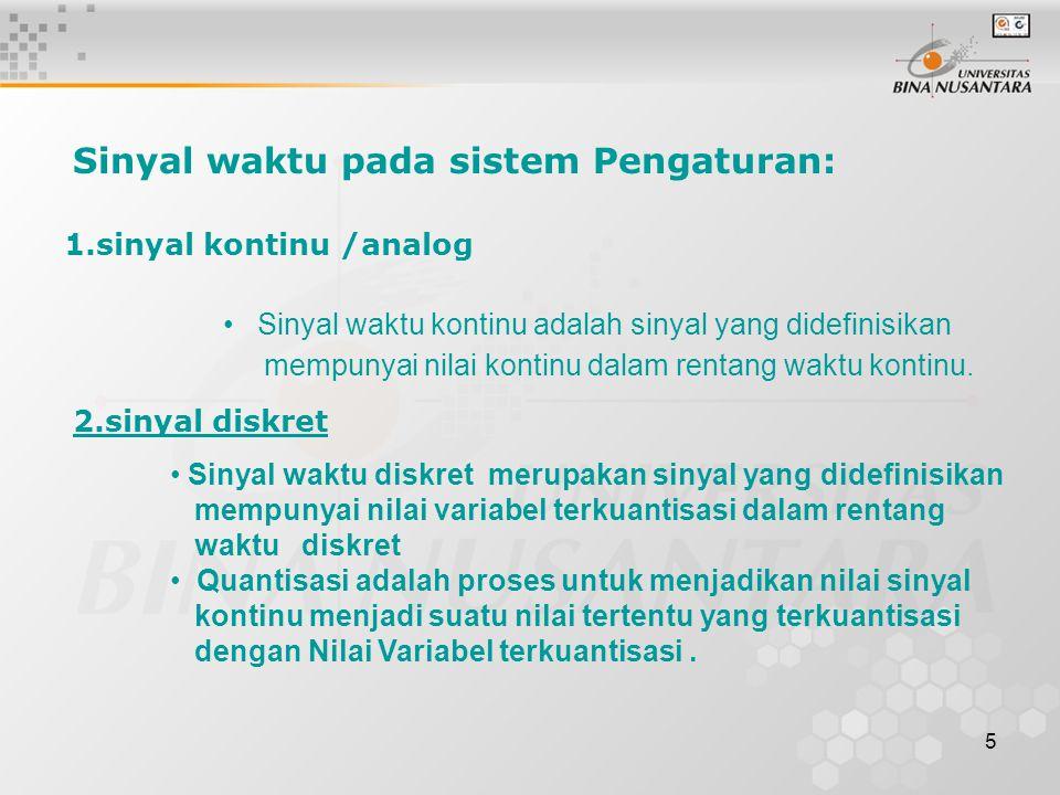 5 Sinyal waktu kontinu adalah sinyal yang didefinisikan mempunyai nilai kontinu dalam rentang waktu kontinu. Sinyal waktu diskret merupakan sinyal yan