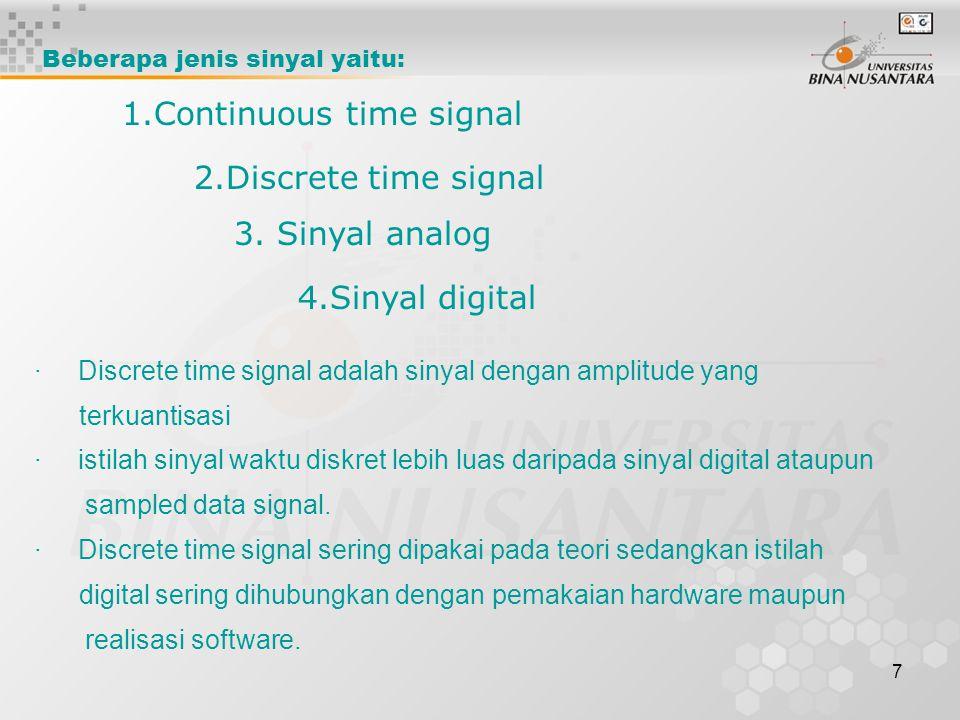 7 · Discrete time signal adalah sinyal dengan amplitude yang terkuantisasi · istilah sinyal waktu diskret lebih luas daripada sinyal digital ataupun s