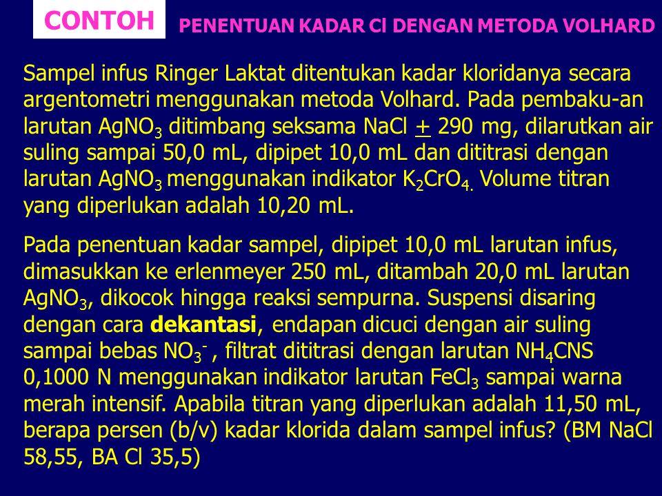 CONTOH Sampel infus Ringer Laktat ditentukan kadar kloridanya secara argentometri menggunakan metoda Volhard. Pada pembaku-an larutan AgNO 3 ditimbang