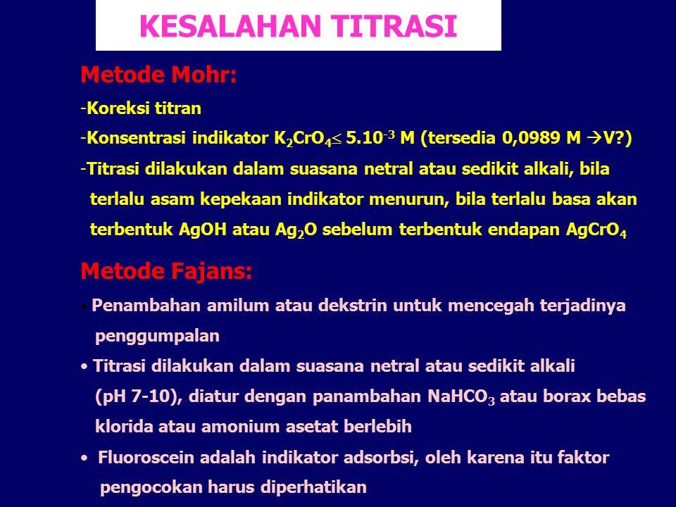 KESALAHAN TITRASI Metode Mohr: -Koreksi titran -Konsentrasi indikator K 2 CrO 4  5.10 -3 M (tersedia 0,0989 M  V?) -Titrasi dilakukan dalam suasana
