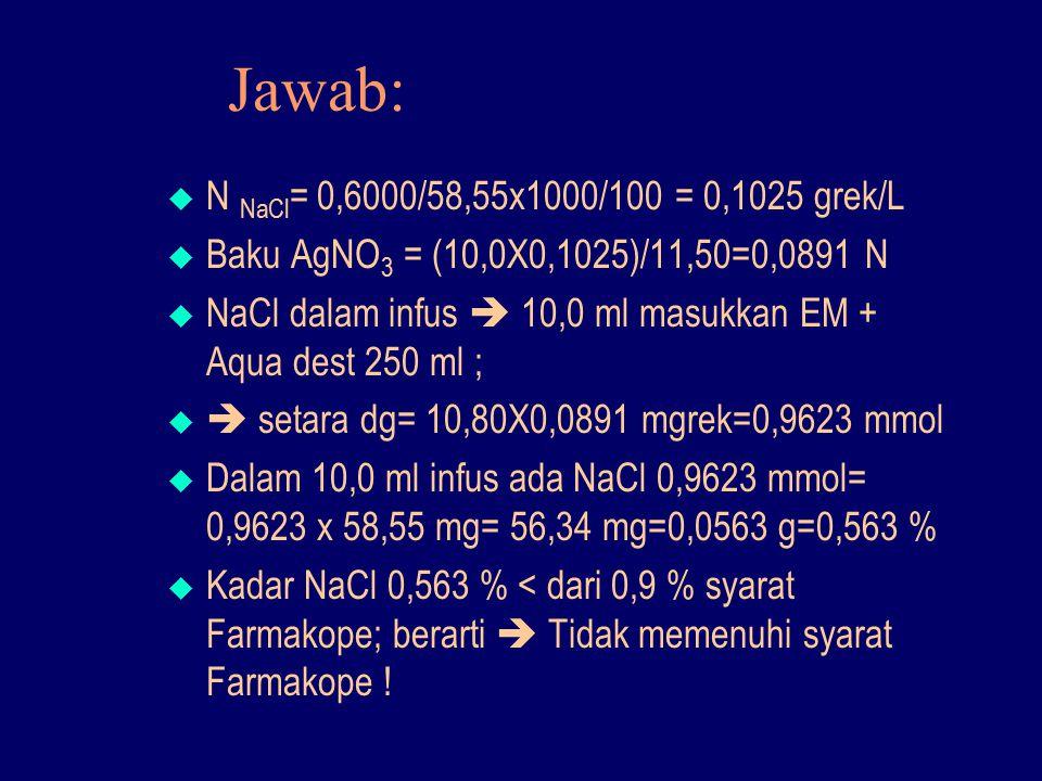 Jawab:  N NaCl = 0,6000/58,55x1000/100 = 0,1025 grek/L  Baku AgNO 3 = (10,0X0,1025)/11,50=0,0891 N  NaCl dalam infus  10,0 ml masukkan EM + Aqua d
