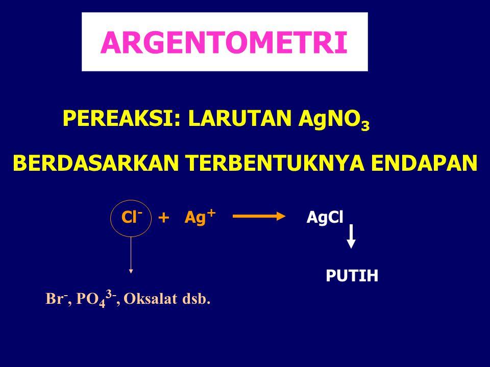 ARGENTOMETRI PEREAKSI: LARUTAN AgNO 3 BERDASARKAN TERBENTUKNYA ENDAPAN Cl - + Ag + AgCl PUTIH Br -, PO 4 3-, Oksalat dsb.