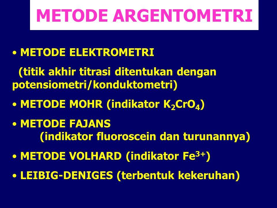 METODE ARGENTOMETRI METODE ELEKTROMETRI (titik akhir titrasi ditentukan dengan potensiometri/konduktometri) METODE MOHR (indikator K 2 CrO 4 ) METODE
