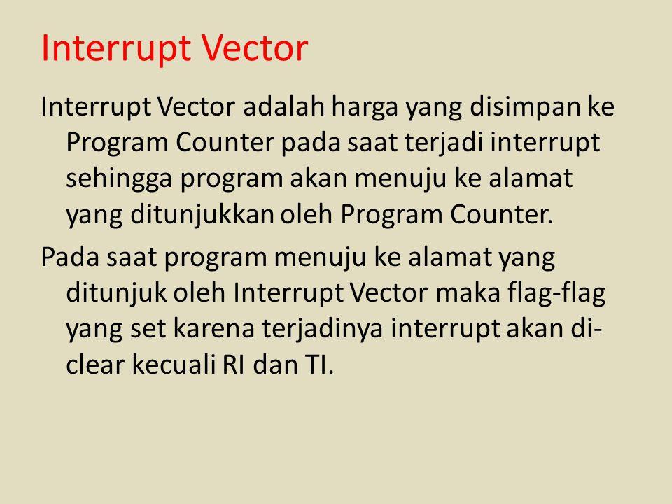 Interrupt Vector Interrupt Vector adalah harga yang disimpan ke Program Counter pada saat terjadi interrupt sehingga program akan menuju ke alamat yan