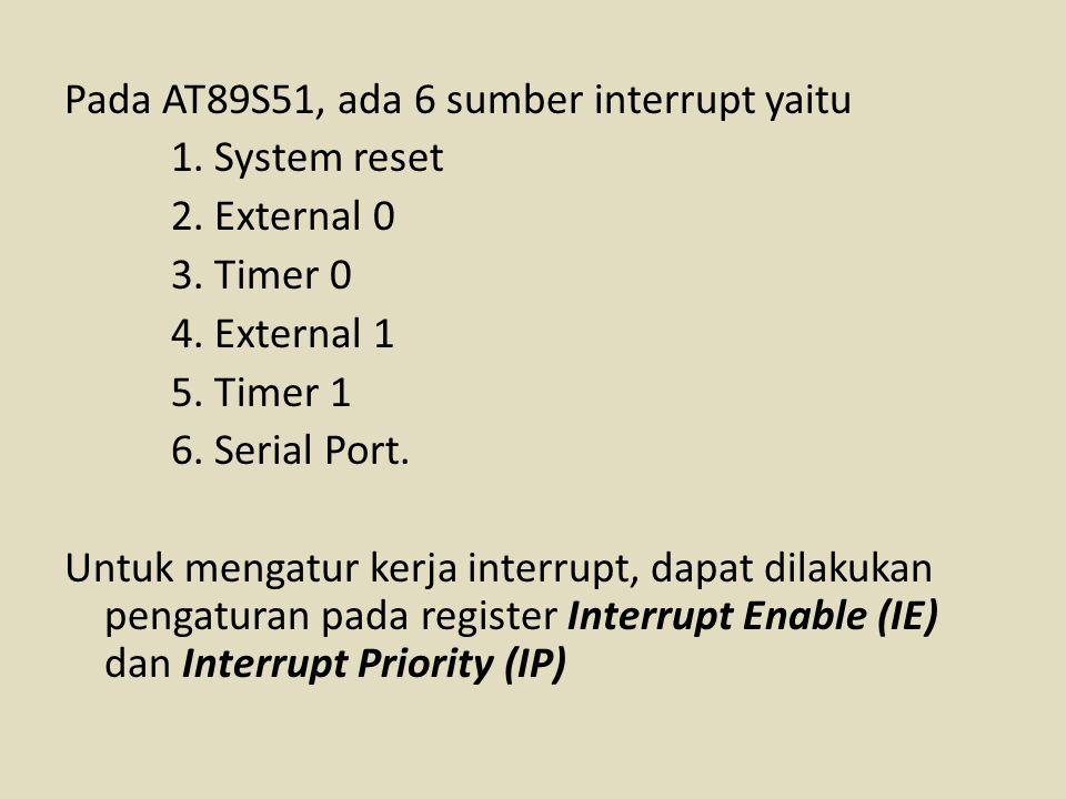 Pada AT89S51, ada 6 sumber interrupt yaitu 1. System reset 2. External 0 3. Timer 0 4. External 1 5. Timer 1 6. Serial Port. Untuk mengatur kerja inte