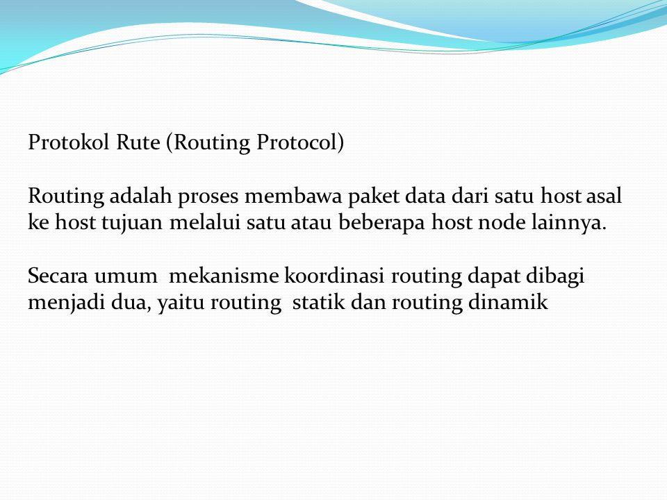 Protokol Rute (Routing Protocol) Routing adalah proses membawa paket data dari satu host asal ke host tujuan melalui satu atau beberapa host node lainnya.