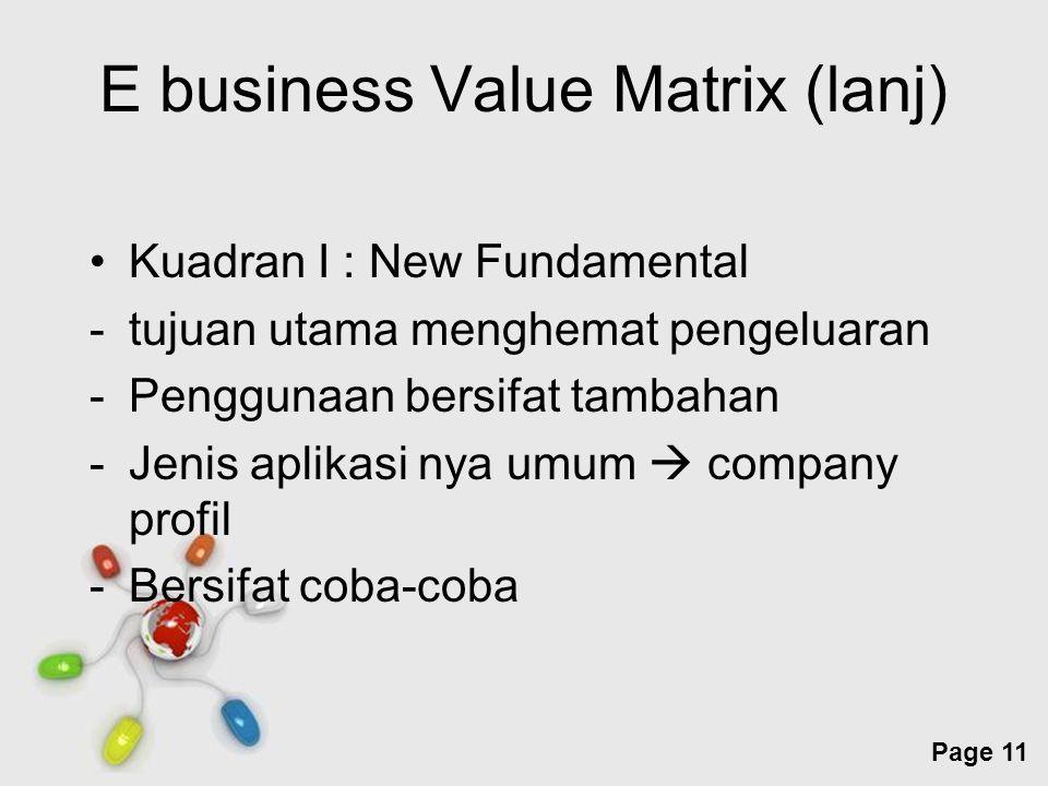 Free Powerpoint Templates Page 11 E business Value Matrix (lanj) Kuadran I : New Fundamental -tujuan utama menghemat pengeluaran -Penggunaan bersifat