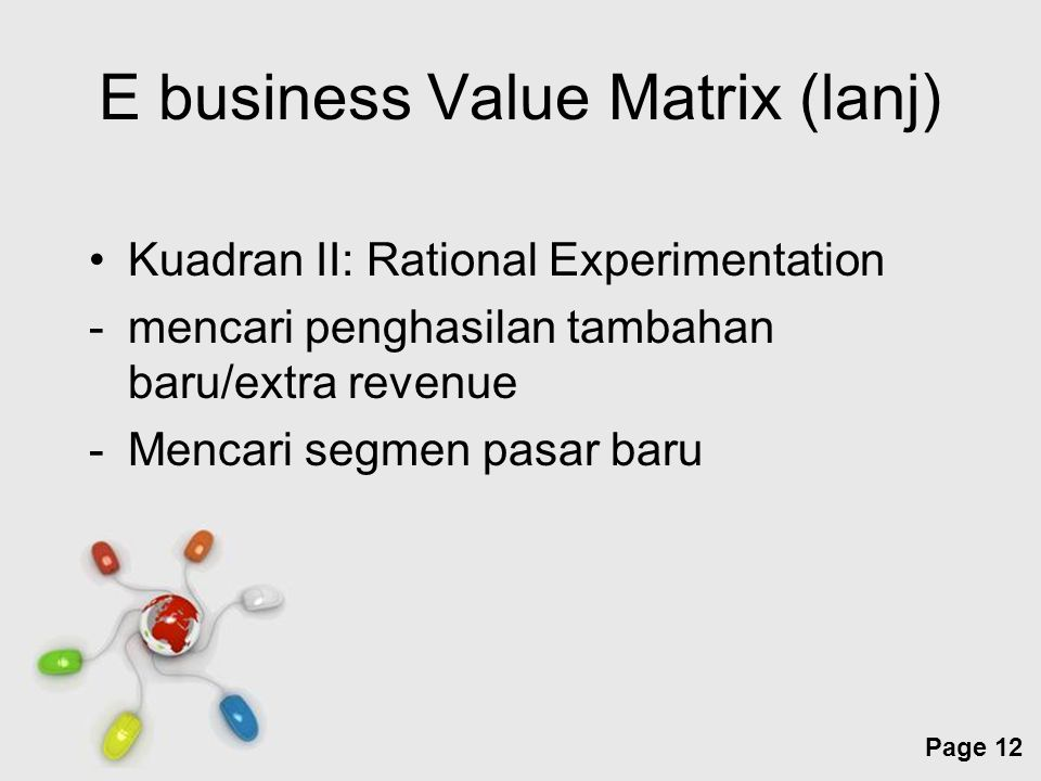 Free Powerpoint Templates Page 12 E business Value Matrix (lanj) Kuadran II: Rational Experimentation -mencari penghasilan tambahan baru/extra revenue -Mencari segmen pasar baru