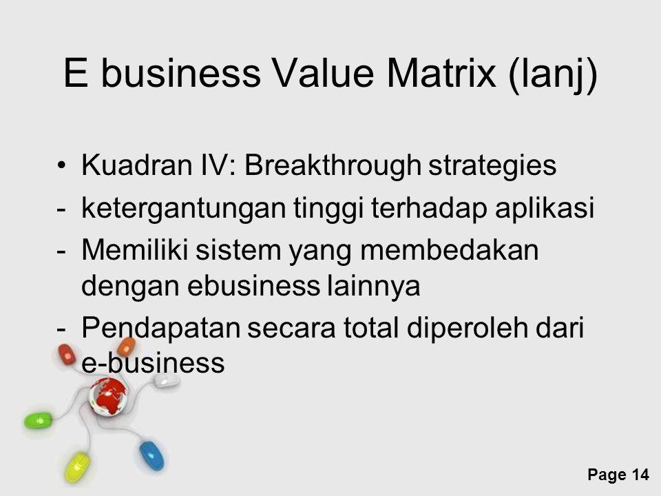Free Powerpoint Templates Page 14 E business Value Matrix (lanj) Kuadran IV: Breakthrough strategies -ketergantungan tinggi terhadap aplikasi -Memilik