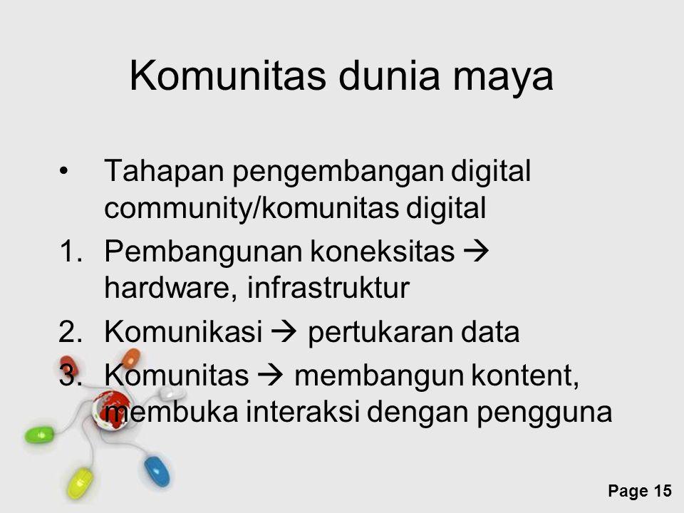Free Powerpoint Templates Page 15 Komunitas dunia maya Tahapan pengembangan digital community/komunitas digital 1.Pembangunan koneksitas  hardware, i