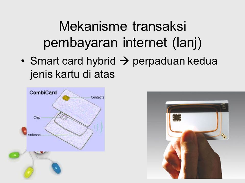 Free Powerpoint Templates Page 20 Mekanisme transaksi pembayaran internet (lanj) Smart card hybrid  perpaduan kedua jenis kartu di atas