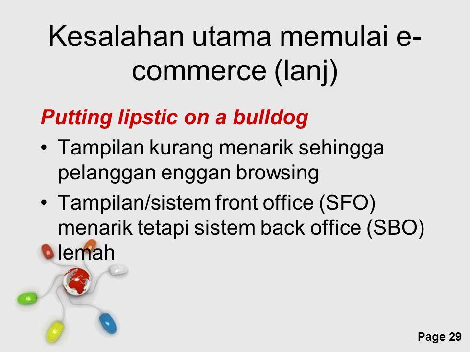 Free Powerpoint Templates Page 29 Kesalahan utama memulai e- commerce (lanj) Putting lipstic on a bulldog Tampilan kurang menarik sehingga pelanggan e