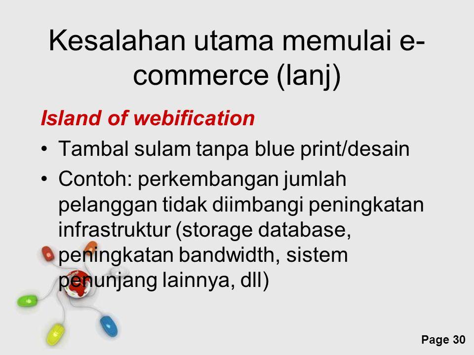 Free Powerpoint Templates Page 30 Kesalahan utama memulai e- commerce (lanj) Island of webification Tambal sulam tanpa blue print/desain Contoh: perke