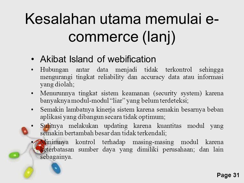 Free Powerpoint Templates Page 31 Kesalahan utama memulai e- commerce (lanj) Akibat Island of webification Hubungan antar data menjadi tidak terkontro
