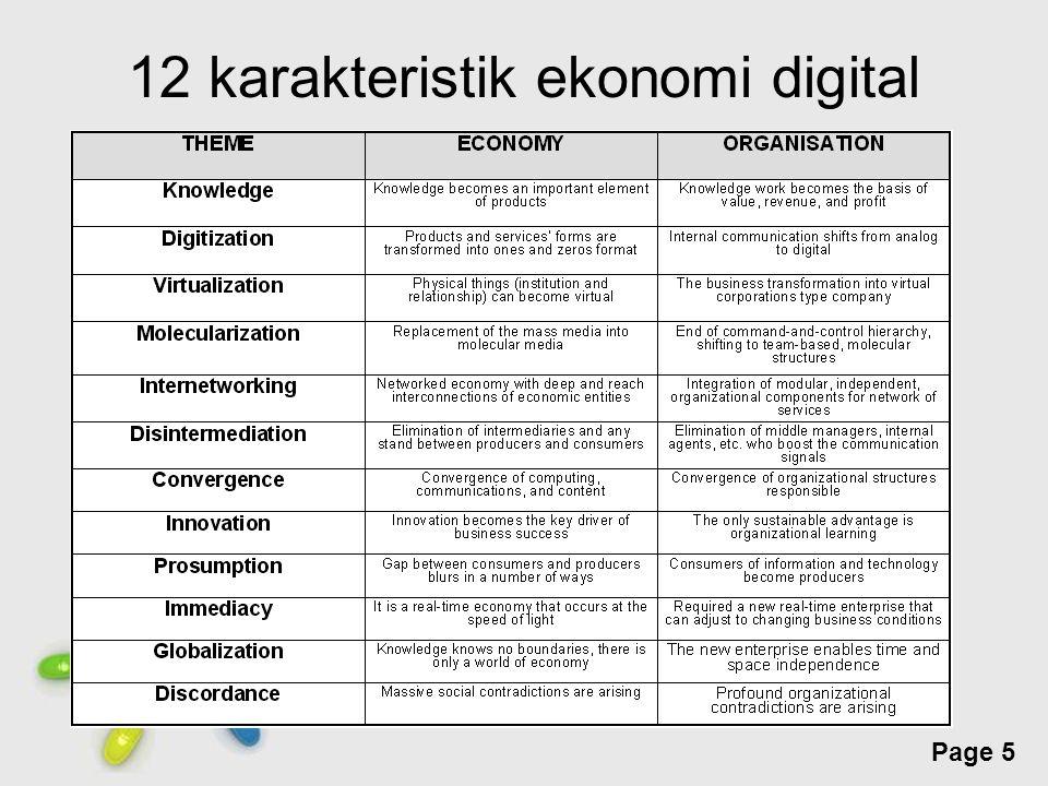 Free Powerpoint Templates Page 6 12 karakteristik ekonomi digital (lanj) Knowledge  SDM, pemahaman terhadap teknologi Digitization  transformasi data menjadi digital Virtualization  tidak perlu aset fisik, hanya komputer dan koneksi internet bisa menjangkau seluruh dunia