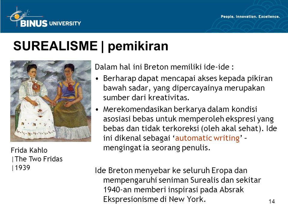 14 SUREALISME | pemikiran Dalam hal ini Breton memiliki ide-ide : Berharap dapat mencapai akses kepada pikiran bawah sadar, yang dipercayainya merupak